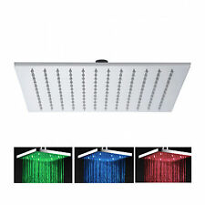 "8"" SQUARE BATHROOM CHROME 3 COLOUR LED RAINFALL ABS SHOWER HEAD"