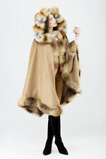 NEW 100% CASHMERE HOODED CAPE PONCHO WRAP PELERINE MANTEL пончо BEIGE FOX FUR