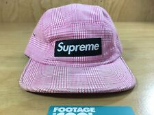 SUPREME Plaid Houndstooth Small Check Camp Cap Pink Box Logo PCL TNF CDG
