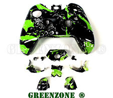 Green Splatter Xbox One Replacement Controller Shell Mod Kit +  Buttons Mod Kit