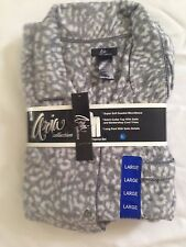 NWT Aria Collection  Ladies Pajama Set 2 Pieces Size Large Color Animal Gray