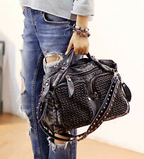 JZL punk rock Weave denim moto Rucksack travel handbag Shoulder messenger Bag