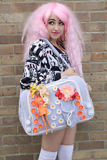 LILAC ORANGE BARBIE DOLL FLOWER PASTEL LARGE SCHOOL GYM BAG INDIE GRUNGE KAWAII