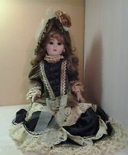 Antique Vintage Jumeau Large 22 Inch Bisque Doll Lace  satin dress Hat Earrings