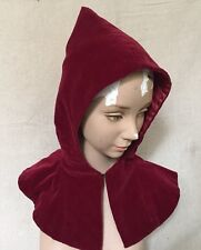 Vintage 1940s Oxblood Red Velvet Hooded Hat & Mitten Set Millinery Unusual Rare