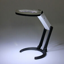 10 LED Lighting Desk Handheld Lamp With 2.5X 8X Magnifier Glass *FREE SHIPPING*