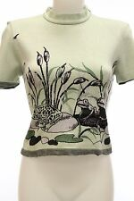 St. John Short Sleeve Knit Ivory and Green Frog Motif Print Size P (XS)