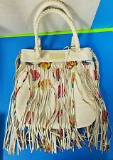 Betsey Johnson On The Fringe Crossbody Bag White Leather w/ Roses Large Purse