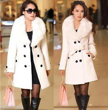 Women's Wool Faux Fur Trench Parka Double-Breasted Winter Coat Jacket