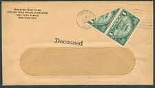 "1925, 1¢ (#614var) Huguenot Walloon ""Bisect"" pair tied on cover w/ ""Deceased"" mk"