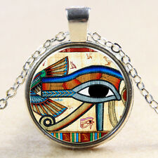 Egyptian Eye of Horus Ra Udjat Glass Art Pendant Chain Amulet Pagan Necklace 229