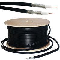250M RG6 TWIN COAXIAL SHOTGUN CABLE - AERIAL SATELLITE DISH LNB- SKY+/HD FREESAT
