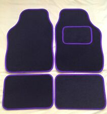 CAR FLOOR MATS FOR MINI COOPER CLUBMAN ONE FIRST S - BLACK WITH PURPLE TRIM