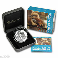 2013 $1 AUSTRALIA KOOKABURRA 1 Oz HIGH RELIEF SILVER COIN Box & COA ONLY: 10000