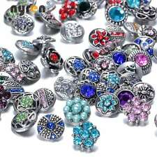 20pcs/lot Mixed Rhinestone styles 12mm metal snap button Fit DIY snaps Jewelry
