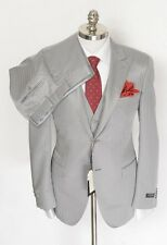 CANALI Milano Silver Striped Wool Silk Peak Lapel 3PC 2Btn Suit 52 8R 42R NWT