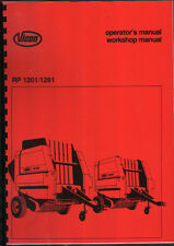 Vicon RP 1201/1281 Round Baler Operator Workshop Manual Book