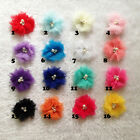 "30pcs 2"" DIY baby girls Tulle Mesh Chiffon flowers Pearl Center Hair Accessory"