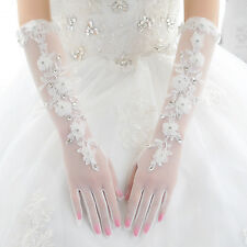 New Ivory Women's Long Lace Glove Evening Wedding Party Prom Bridal Gloves