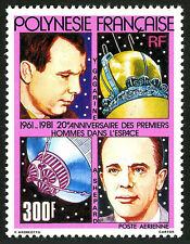 French Polynesia C185,MNH.20th ann. of manned space flight.Gagarin,Shepard,1981