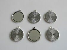 10 Round Antique Silver 20mm Cameo Cabochon Pendant Frame Setting Blanks Tray