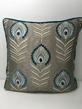 Jane Churchill Sula - Teal  Embroidered Contrast Piped Cushion  Cover rrp £95