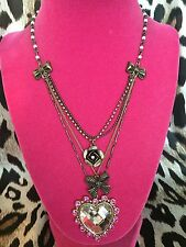 Betsey Johnson Vintage Fuchsia Mirrored Crystal Heart Rose Bow Pearl Necklace