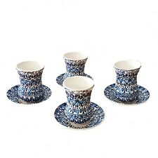 Turkish Arabic Greek Moroccan Design Handmade Ceramic 4 Tea Cup + Saucer Set I1