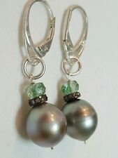 Grey Tahitian Pearl Diamond Emerald earrings 925 solid silver dangle