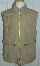 TOMMY HILFIGER Cotton/Nylon Tan Full Zip Vest  Outdoors Fishing Photography L