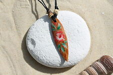 NEW WOODEN RETRO FLOWER SURFBOARD PENDANT NECKLACE SURFER TALISMAN BEACH / n243e