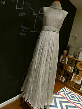 Alexander McQueen grey silk bridal wedding evening dress w/ pearl belt