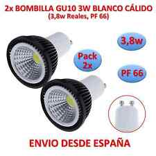 Pack 2x Bulb Led COB GU10 3.8w (3w) Black White Warm Dichroic 220v Black