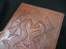 DRAGONS - A5 Handmade Leather Journal Diary Sketchbook - Unlined Pages WYVERNS