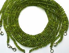 "NATURAL GEM PERIDOT 4-5MM SMOOTH RONDELLE BEADS 125CTS 20"" NECKLACE OLIVE GREEN"