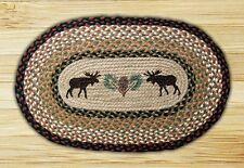 """Print Braided Rug - Earth Rugs - 20""""x30"""" - Moose And Pinecone - OP-19 - New!"""