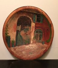 Old Primitive BRULATOUR Courtyard Painting on Hand Painted Wood Bowl NEW ORLEANS