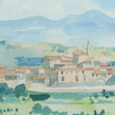 Signed Framed Modern Landscape Watercolour Painting Tim Jones Umbria Italy