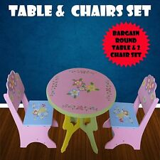 WOODEN KIDS TABLE AND CHAIR ROUND FAIRY BUTTERFLY CHILDRENS FURNITURE