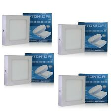 4 SPOT LED PANEL CARRE EN APPLIQUE 12W BLANC FROID 6000K - SOCKET ALUMINIUM