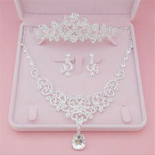 Hot Wedding Bridal Tiara Crystal Pearl Headband+Necklace+Earring Set Accessory