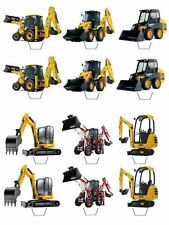 12 JCB Machines Edible Cupcake Topper Boys Birthday Toppers Cake Decorations