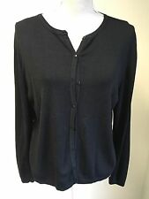 Amaranto Women Cardigan Thin Black Knit Size 18 (01)