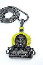 """MEN Hip Hop Black YELLOW CZ BOTTLE Charm-Rhodium Necklace 36"""" Franco Chain Bling"""