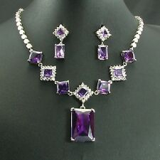 White Gold Plated Purple Faux Amethyst Earring Necklace Jewellery Set Set