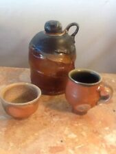 "Pottery  Jug with Lid  7"" Tall A Bowl 3"" Across & Cup With Handle 4"" Across"