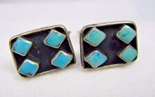 Vintage Turquoise Zuni Shadow Box Pettit Point Sterling Silver Cufflinks Set
