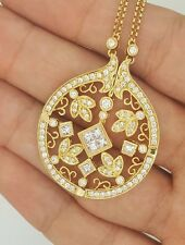 18k Yellow Gold 2 In 1 Transforming Diamond Round Crown Pendant Necklace OPENS
