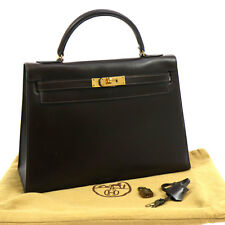 100% Authentic HERMES Kelly 32 Hand Bag Purse Brown Box Calf Gold Vintage V13415