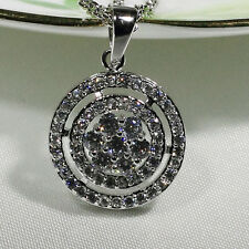 18K White Gold Filled CZ Women Fashion Jewelry Lady Gift Necklace Pendant P3074